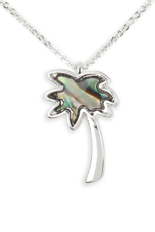 Genuine Abalone Shell Palm Tree Pendant Necklace Silverplate