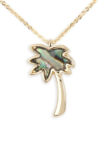 Genuine Abalone Shell Palm Tree Pendant Necklace Gold Plate