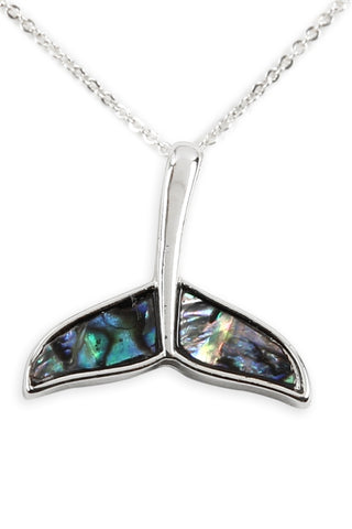 Genuine Abalone Shell Whale Tail Pendant Necklace Silverplate