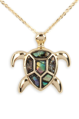 Genuine Abalone Shell Sea Turtle Pendant Necklace Gold Plate