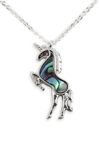 Genuine Abalone Shell Unicorn Pendant Necklace Silverplate