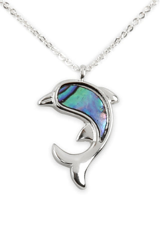 Genuine Abalone Shell Dolphin Pendant Necklace Silverplate