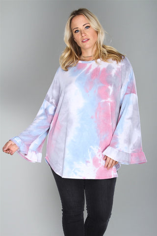 Pink and Blue Tie Dye Plus Size Top