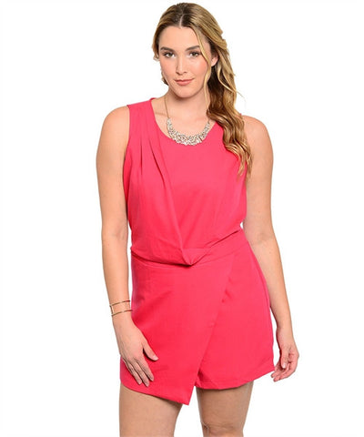 Red Sleeveless Wrap Style Romper