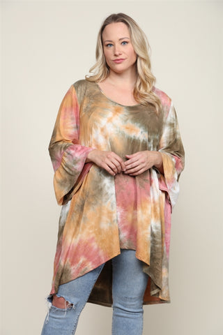 Olive and Pink Tie Dye Plus Size Tunic Top