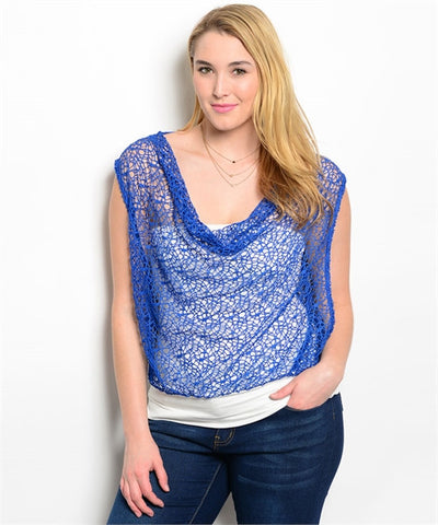 Womens Plus Size White Top with Blue Crocheted Lace Overlay
