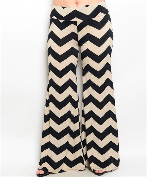 Black and Tan Chevron Print Plus Size Palazzo Pants