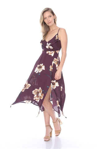 Wine Red Floral Maxi Dress