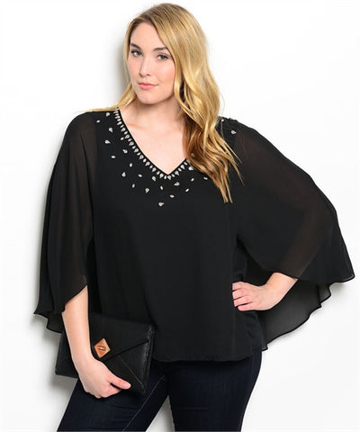 Womans Plus Size Black Blouson Top with Rhinestone Accents