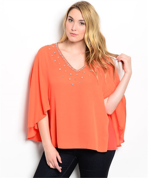 Womans Plus Size Orange Blouson Top with Rhinestone Accents