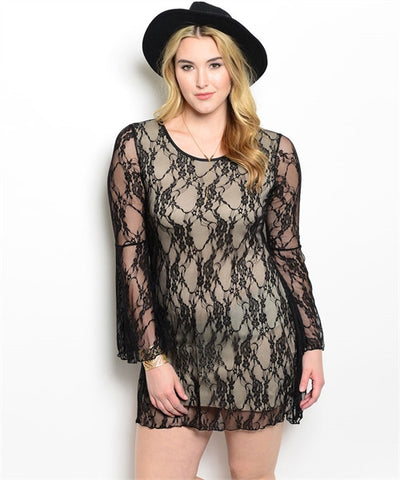 Womans Plus Size Black Lace Overlay Dress with Bell Sleeves