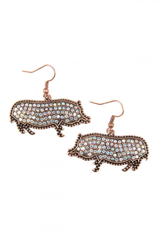 Burnish Gold Cast Metal Rhinestone Pig Earrings