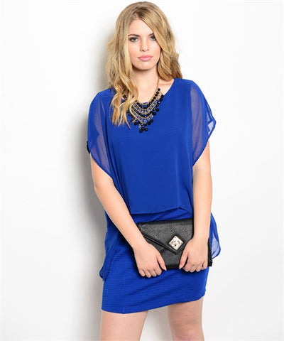 Womans Plus Size Royal Blue Dress with Loose Bodice and Fitted Skirt