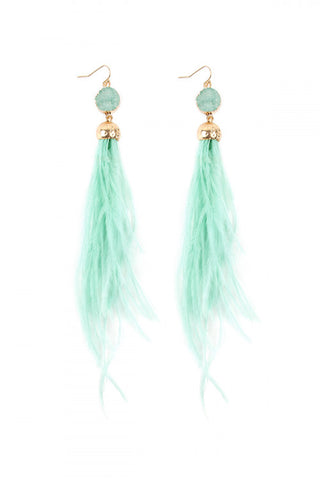 Mnt Green Druzy Stone Ostrich Feather Earrings