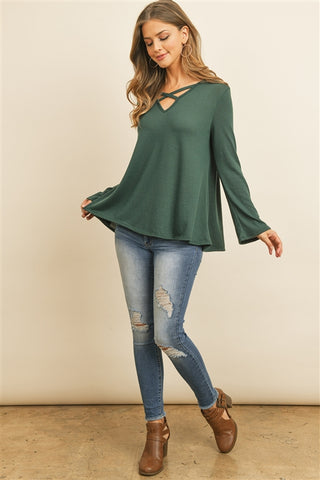 Hunter Green Criss Cross Long Sleeve Hacci Top