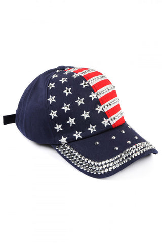Navy Blue Embellished USA American Flag Baseball Cap