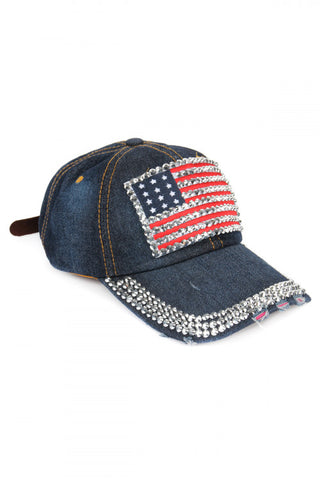 Distressed Denim USA Flag Baseball Cap