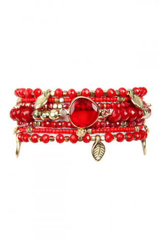 Burgundy Red Leaf Charm Bracelet Set
