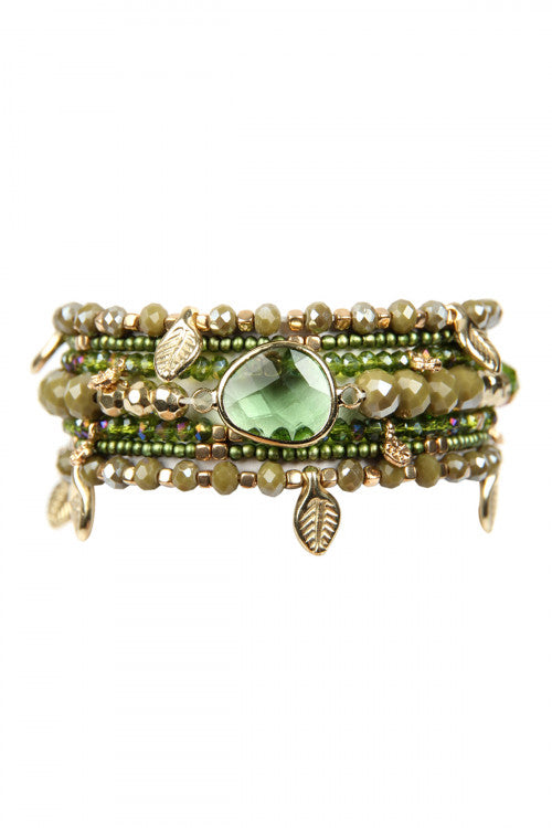 Olive Green Leaf Charm Bracelet Set