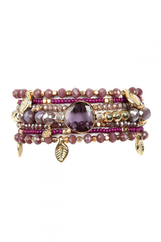 Dark Purple Leaf Charm Bracelet Set