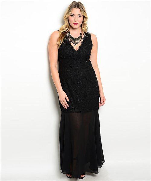 Women's Plus Size Black Sequin and Lace Formal Evening Gown
