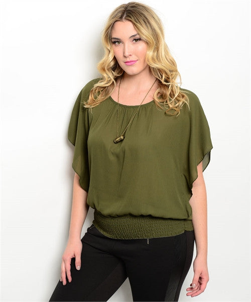 Womens Plus Size Lace Back Olive Top Flutter Sleeves