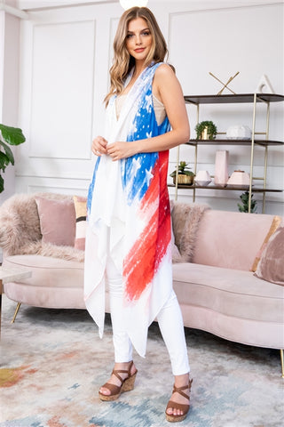 USA American Flag Open Front Cardigan Vest