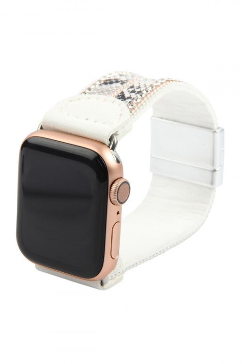 White Faux Leather Snake Skin Animal Print Apple Watch Band