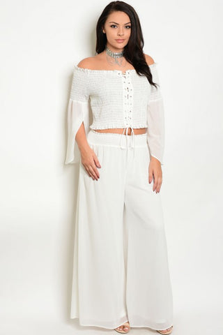 2pc Ivory White Boho Inspired Top and Pants Set