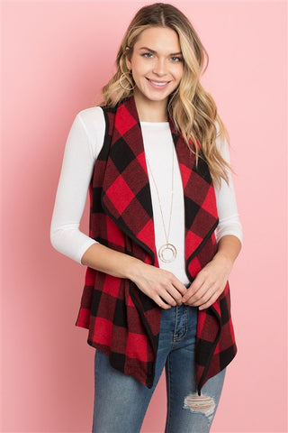 Red Buffalo Plaid Cardigan Vest