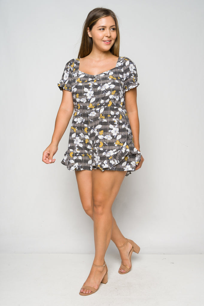 Gray Floral Ruffled Plus Size Romper