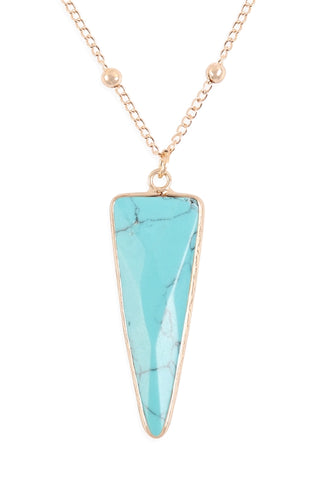 Faux Turquoise Arrowhead Pendant Necklace