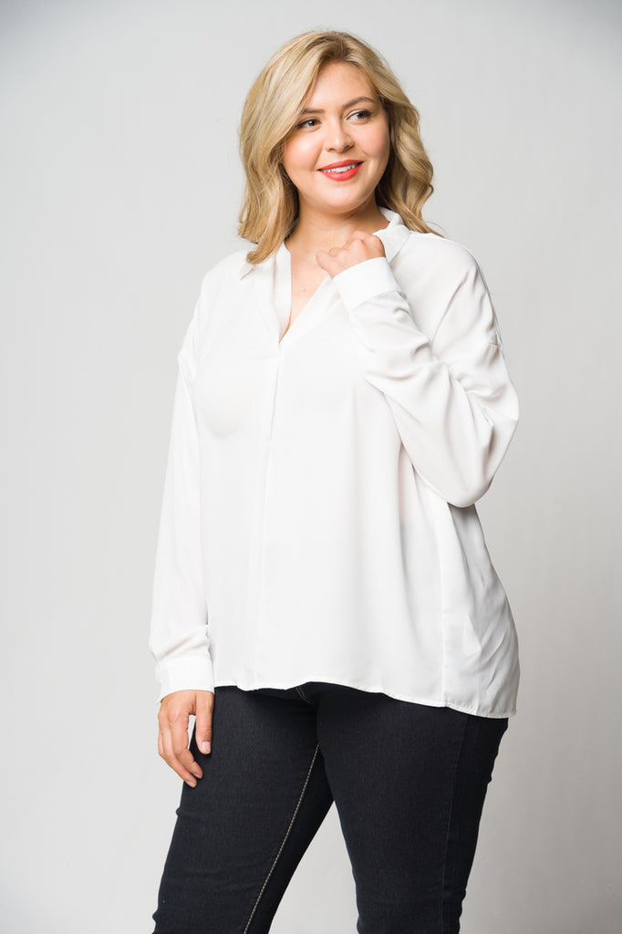 White Long Sleeve Plus Size Blouse