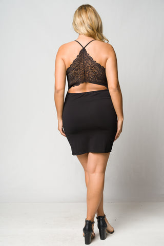 Black Lace Accent Bodycon Plus Size Dress