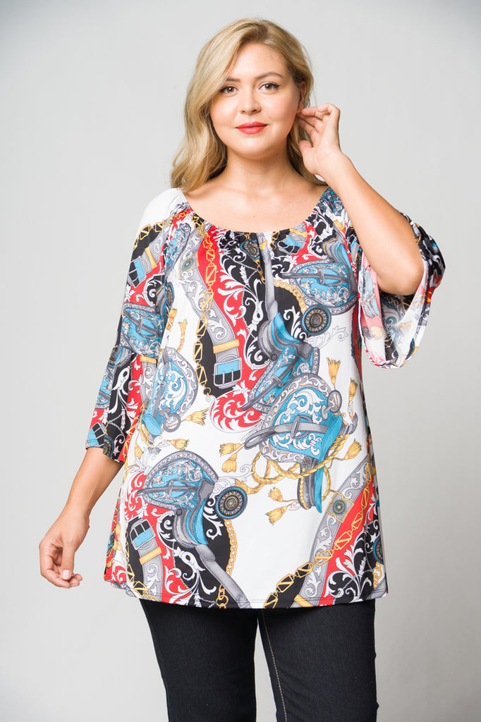 White Multi Print Plus Size Tunic Top