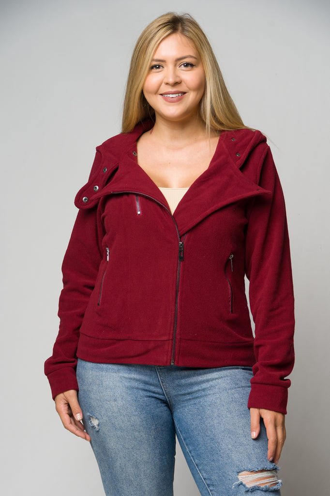 Wine Red Hooded Fleece Plus Size Moto Jacket