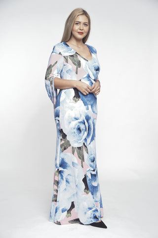 Blue Floral Maxi Dress Gown