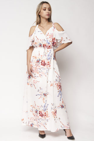 Ivory Floral Cold Shoulder Wrap Maxi Dress