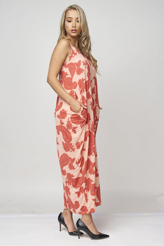 Coral Paisley Print Plus Size Maxi Dress