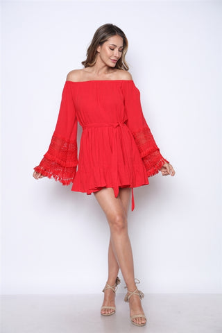 Candy Red Crocheted Lace Mini Dress