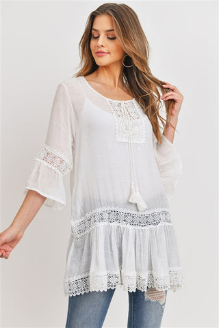 White Lace Boho Tunic Top