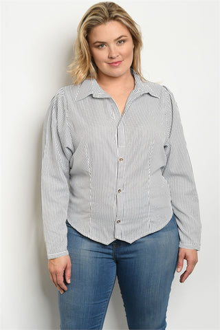 Black Pinstripe Plus Size Button Up Blouse