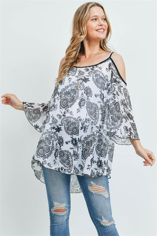 Ivory Paisley Print Cold Shoulder Tunic Top