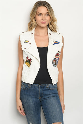 White Distressed Denim Moto Vest