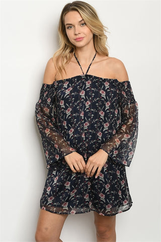 Navy Blue Floral Boho Cold Shoulder Dress