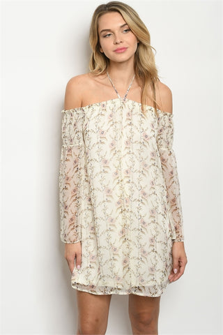 Ivory Floral Boho Cold Shoulder Dress