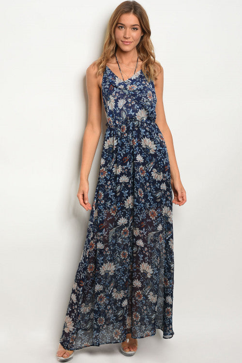 Navy Blue Floral Scoop Neck Maxi Dress