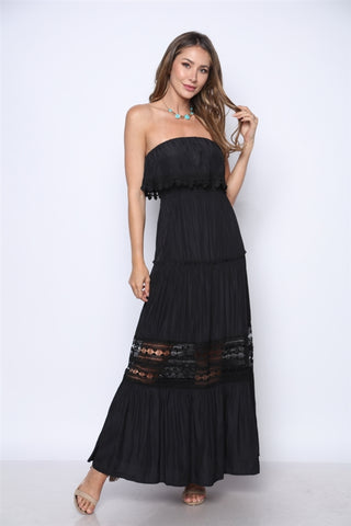 Black Strapless Boho Maxi Dress