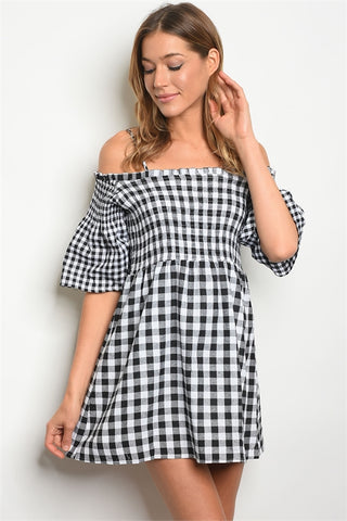 Black Gingham Check Cold Shoulder Dress