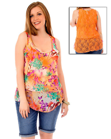 Womens Plus Size Orange Layered Tank Top Floral Lace